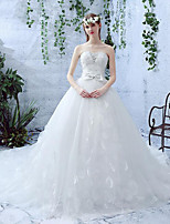 Ball Gown Wedding Dress Floor-length Sweetheart Lace / Tulle with Bow / Lace / Sequin