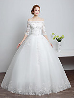 Ball Gown Wedding Dress Floor-length Bateau Lace / Tulle with Beading / Lace