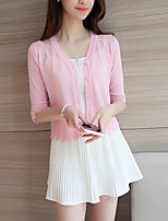 Women's Casual/Daily Simple Short Cardigan,Solid  V Neck ½ Length Sleeve Cotton Spring Thin