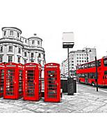 3d shinny effet cuir scène grande fresque papier peint ville de nuit et rouge téléphone bus mur papier décor de mur d'art de stand