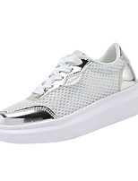 Women's Shoes PU / Tulle Spring / Fall Comfort Sneakers Casual Flat Heel Lace-up Silver / Gold Walking