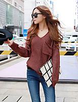 Damen Standard Pullover-Lässig/Alltäglich Einfach / Street Schick Solide Braun V-Ausschnitt Langarm Baumwolle Herbst Mittel