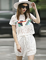 ILOVEKNITTING  Women's Going out Cute Summer Set Pant,Geometric Round Neck Short Sleeve White Others Translucent