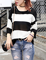 Women's Casual/Regular Pullover,Striped Blue / Pink / Black / Gray / Green Round Neck Long Sleeve Cotton Fall Thin