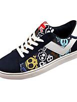 Черный / Синий-Мужской-На каждый день-Ткань-На плоской подошве-Удобная обувь-Кеды