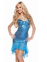 Costumes Mermaid Tail Halloween / Carnaval / Fête d'Octobre Bleu Ciel Vintage Térylène Robe