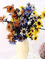 1pc 1 Une succursale Polyester / Plastique Tournesols Fleur de Table Fleurs artificielles 27.5inch/70CM
