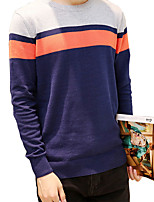 Men's Solid / Patchwork Casual / Sport Pullover,Cotton Long Sleeve Black / Blue / Gray MLS-88890