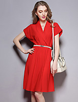 Women's Going out Street chic Loose Dress,Solid Round Neck Above Knee Short Sleeve Red Polyester Summer