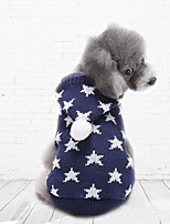 2016 New Autumn and Winter Christmas Sweety Star Blue Red Dog Sweater Dog Clothes with Hoodies for Pet Dogs