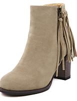 Damen-Stiefel-Outddor / Büro / Kleid / Lässig-Kunststoff / Kunstleder-Blockabsatz-Plateau / Modische Stiefel-Schwarz / Khaki
