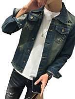 Men's Long Sleeve Casual Jacket,Cotton Print / Solid Blue MF-1501