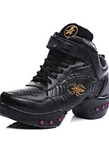 Non Customizable Women's Dance Shoes Leather Leather Jazz / Sneakers Chunky Heel Beginner / Performance Black