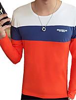 Мужской Контрастных цветов Футболка,На каждый день,Хлопок / Полиэстер,Длинный рукав-Синий / Оранжевый / Серый