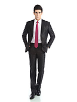 Tuxedos Tailored Fit Notch Single Breasted  Polyester/Rayon(T/R) / Wool & Polyester Blended Solid 2 Pieces Black