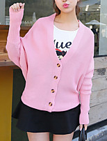 Women's Casual/Daily Street chic Long Cardigan,Solid Pink V Neck Long Sleeve Acrylic Fall Medium