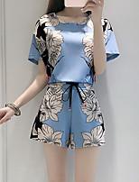 Women's Going out Vintage Summer Set Pant,Print Round Neck Short Sleeve Blue Cotton / Polyester Medium