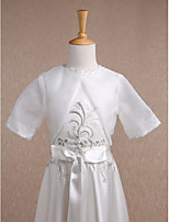 Kids' Wraps Shrugs Half-Sleeve Organza Ivory Wedding / Party/Evening / Casual Scoop 34cm Draped / Pearls Hidden Clasp