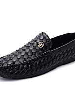Heren Platte schoenen Lente / Herfst Comfortabel Leer Informeel Platte hak Ruches / Overige / Combinatie Zwart / Goud Wandelen