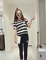 GLITTER  Women's Casual/Daily Street chic Fall Set Pant,Striped Round Neck Short Sleeve Black Cotton Thin