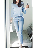 Women's Going out / Casual/ Cute Regular Pullover,Solid Blue V Neck Long Sleeve Cotton Spring / Fall Medium