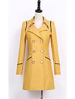 Women's Going out Simple Trench Coat,Solid Peter Pan Collar ¾ Sleeve Fall Black / Green / Yellow Polyester Medium