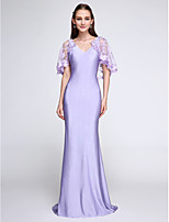 Lanting Bride®Sweep / Brush Train Jersey Bridesmaid Dress - Wrap Included Trumpet / Mermaid V-neck with Lace