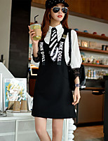 Women's Going out / Casual/Daily Simple / Cute / Street chic A Line Dress,Print / Letter Strap Above Knee Sleeveless