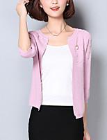 Damen Standard Strickjacke-Ausgehen Street Schick Solide Rosa / Weiß / Grau U-Ausschnitt Langarm Baumwolle Frühling / Herbst Mittel