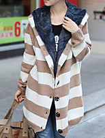 Women's Casual/Daily Simple Long Cardigan,Striped Brown / Green Hooded Long Sleeve Cotton Fall / Winter Medium
