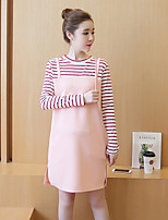 Maternity Casual/Daily Simple Loose Dress,Solid V Neck Above Knee Long Sleeve Pink Polyester Summer