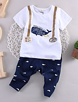 Boy's Casual/Daily Print Clothing Set,Cotton Summer Green / White