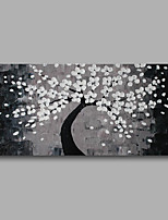 Stretched (Ready to hang) Hand-Painted Oil Painting 100cmx50cm Canvas Wall Art Modern Heavy Oil White Grey Flowers