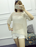 Women's Daily Regular Pullover,Solid White / Beige / Black / Green / Yellow Round Neck ½ Length Sleeve Polyester Summer