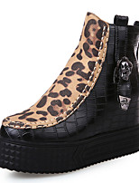 Women's Shoes Low Heel Round Toe Platform Leopard Print Zip Ankle Boot More Color Available