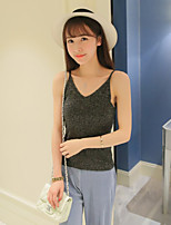 Women's Casual/Daily Simple Regular Pullover,Solid Pink / Beige / Black / Gray Strap Sleeveless Polyester Summer Thin