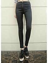 Women's Solid Black Slim Pants,Simple