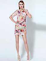 Boutique S Women's Going out Chinoiserie Sheath Dress,Print Round Neck Above Knee ¾ Sleeve Pink Polyester Summer