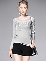 AFOLD® Women's Round Neck Long Sleeve T Shirt Black / White / Gray-6052