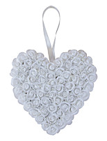 Pure White Rose Flower with Crystal Pearl Decoration Hanging Ring Pillow for Wedding Party(23*27cm)