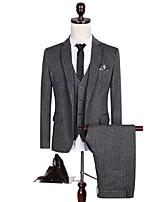 Suits Tailored Fit Notch Single Breasted One-button Polyester Stripes 3 Pieces Dark Gray Straight Flapped  Black