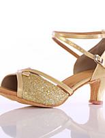 Women's Latin Paillette Heels Indoor Customized Heel Gold Customizable