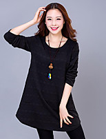 Women's Plus Size / Casual/Daily Street chic Loose Dress,Jacquard Round Neck Above Knee Long Sleeve  Cotton Fall