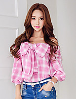 DABUWAWA Women's Going out / Casual/Daily / Holiday Cute / Street chic / Sophisticated Shirt,Solid Boat Neck ¾ Sleeve