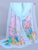 Women's Chiffon Flowers Print Scarf,Yellow/Pink/Blue/Purple