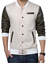 Men's Fashion Slim Leather Sleeve Spell Color Jacket,Cotton / Polyester Color Block Beige