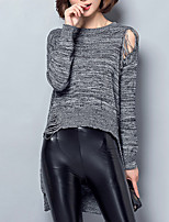 Women's Casual/Daily Street chic Long Pullover,Solid Gray Round Neck Long Sleeve Cotton Fall Medium