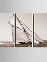 E-HOME® Stretched Canvas Art Sailing On The Sea Decoration Painting  Set Of 3