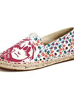 Mujer-Tacón Plano-Punta Redonda / Bailarinas-Zapatos de taco bajo y Slip-Ons-Casual-Tejido-Azul / Blanco