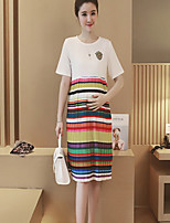 Maternity Casual/Daily Simple Loose Dress,Striped Round Neck Above Knee Short Sleeve White / Black Cotton Summer